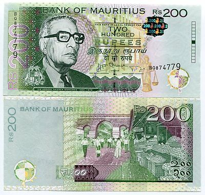 Mauritius 200 Rupees 2013 P 61 New Date And Signature Unc