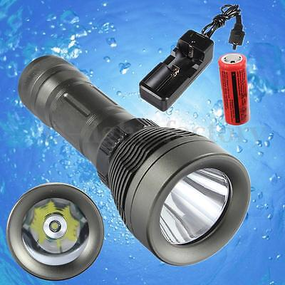 Underwater 80M Diving 3000Lm T6 LED 26650 Flashlight Torch Waterproof Set