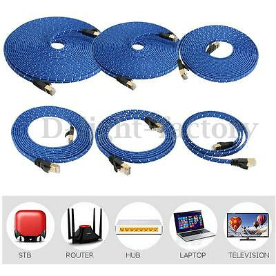 Fabric Braided CAT-7 Cat7 RJ45 Ethernet Flat Cable LAN Network Modem Patch Cord