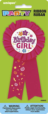 Pink Rosette Birthday Girl Party Badge