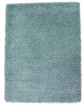 New X Large Duck Egg Blue 5cm Modern Plain Shaggy Rugs Thick Soft Pile Area Mats