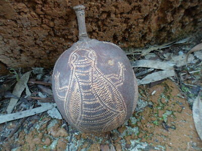 CARVED KIMBERLEY BOAB NUT ABORIGINAL ART CARVING with EMU FISH TURTLE and SNAKE