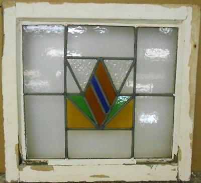 "OLD ENGLISH LEADED STAINED GLASS WINDOW Gorgeous Geometric Design 19.25"" x 18"""