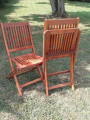 Set of 2 Folding Garden Chairs Wood Slatted Back Patio Decking Outdoor Furniture