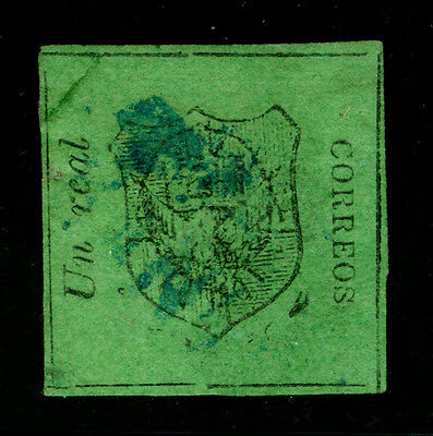 DOMINICAN REPUBLIC 1865 Coat of Arms  1r black, deep green Sc# 2 used - RARE