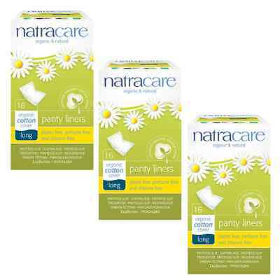 Triple Pack Natracare LONG Panty Liners WRAPPED Organic Cotton, Chlorine Free.