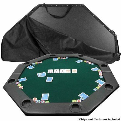 Trademark 52x52 Inch Octagon Padded Poker Tabletop Green Felt 8 Cup Holders New