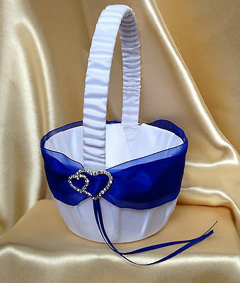 White/pale Ivory&royal Blue & Double Hearts Flower Girl Basket/wedding Accessory