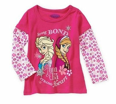 Frozen Disney Anna Elsa Pink Long Sleeve Tees Toddler Girls Size 2t 3t Graphic