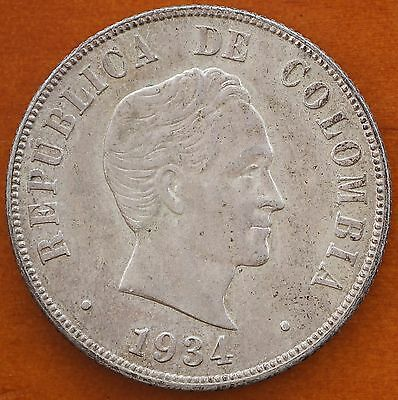 1934  Colombia 50 Centavos KM# 274 Silver aUNC Coin US Mint