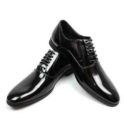 New Men's Black Tuxedo Patent Leather Round Toe Formal Dress Shoes Lace Up AZAR