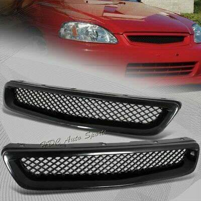 For 1996-1998 Honda Civic JDM Type R Black Mesh ABS Front Hood Grille Grill