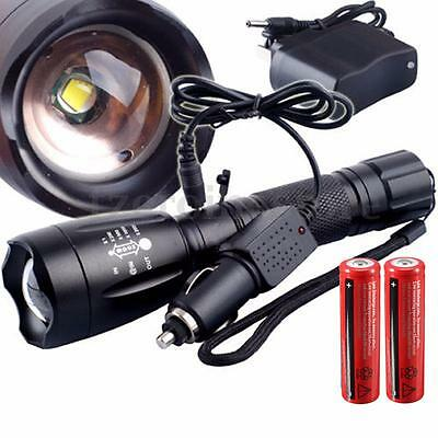 5000Lm T6 LED Flashlight Torch Zoomable Rechargeable + 2x18650 + 2 Chargers