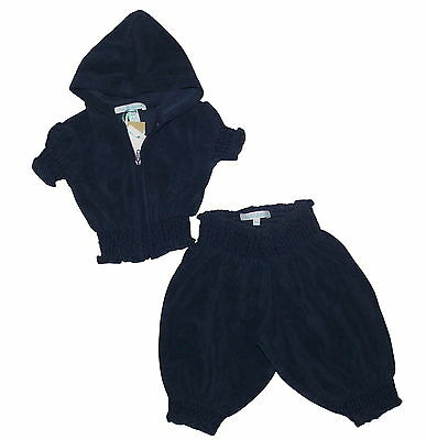 Marie Chantal 100% Organic Terry Cotton Navy Hoody and Bottoms 3 Months NWT
