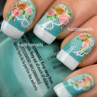 Vintage Roses & Lace Nail Art Wraps Water Transfers Decals YD007