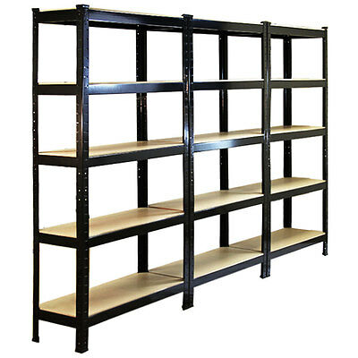 3 Garage Shelving Racking Heavy Duty Steel Boltless Warehouse Unit 5 Tier 75cm