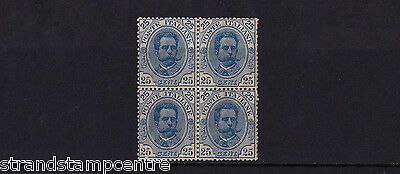 Italy - 1891-97 25c Blue - Mtd Mint BLOCK of FOUR - SG 59 - SEE NOTES