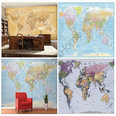 World Map Wall Murals, 4 Designs Available, Feature Wall / Office / Whole Room
