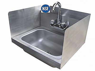 Stainless Steel Wall Mount Sink w/Side Splashes & Faucet 17X16X12  NSF NEW