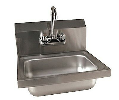 "Stainless Steel Wall Mount Hand Sink w/ Faucet 17""x16""x12""-NEW-NSF FREE SHIPPING"