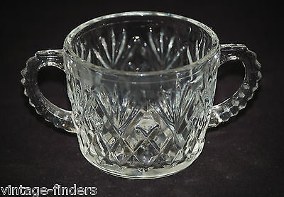 Vntage Pressed Glass Sugar Bowl Double Handle w Diamond Pineapple Fan Design