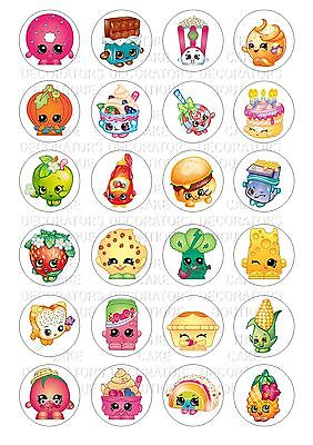 24 Shopkins Iced / Icing Cupcake Topper Edible Fairy Cake Bun Toppers Round