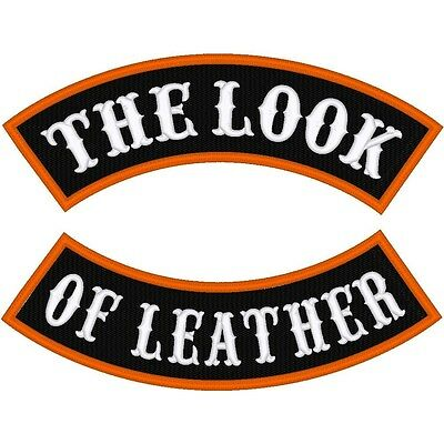 """Custom Embroidered Motorcycle  12 Inch  """"leather Look""""  Rocker Patch"""