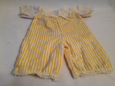 Vintage Cabbage Patch Kids Doll Newborn Cpk  Baby Girl Yellow Romper Clothing