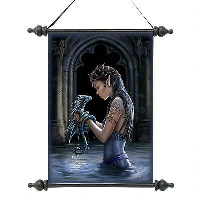 Enchanted Castle Dark Pools Gothic Dragon with Elven Maiden Wall Scroll Tapestry