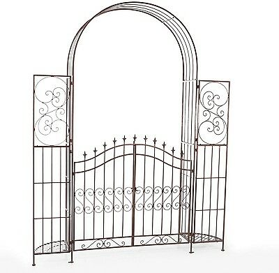 Garden Metal Entryway Yard Patio Arch Arbor w/Planter Stands Gate 7.83 ft Tall