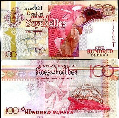 Seychelles 100 Rupees Nd 2005 (2012) P 40 (Nl Red Serial) Unc