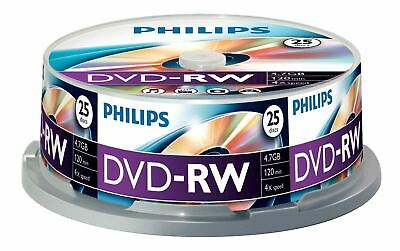 Philips DVD-RW 120 Mins 4.7GB 4X Speed Recordable Blank Discs - 25 Pack Spindle