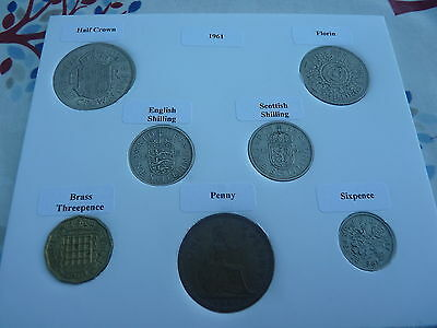 1961 Full Set of 7 Coins in Display Card - Ideal Birthday Present