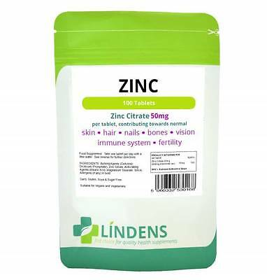 Zinc Citrate 50mg Tablets (100Tablets pack) sexual health acne immune skin