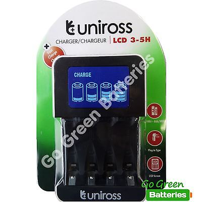 Uniross LCD Intelligent AA/AAA Fast Charger 3-5 Hours