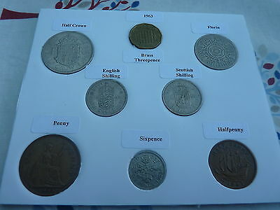 1963 Full Set of 8 Coins in Display Card - Ideal Birthday Present