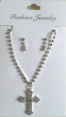First Holy Communion Baptism Confirmation Cross Jewelery Rhinestone Necklace Set