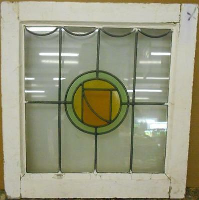 "OLD ENGLISH LEADED STAINED GLASS WINDOW Pretty Circular Design 20.25"" x 21"""