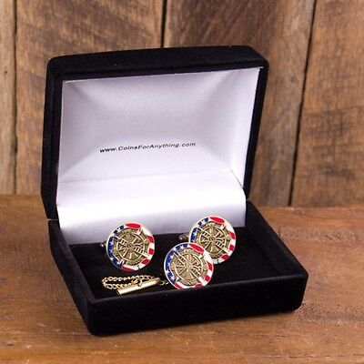 Fire and Rescue Cufflinks and Tie-Tack Set with black velvet box