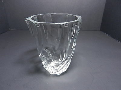 "Art Glass Vase Swirled Ribs Clear Crystal 5"" T From France Contemporary"