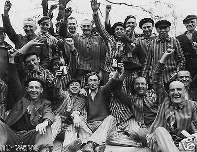 Polish Prisoners Celebrate Liberation from Dachau Concentration Camp-1945 Photo