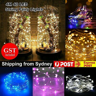 4M Battery Operated Lights 40 LED Micro Silver Wire Waterproof Fairy Xmas Party