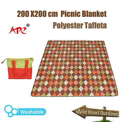 2x2M Large Picnic Blanket Washable Taffeta Rug Camping Mat Outdoor
