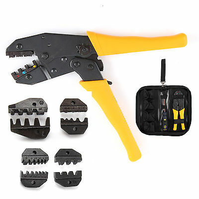 4 Spare Dies Cable Ratchet Crimper Crimp Pliers Set 0.5-35 mm² Crimping Tool Kit