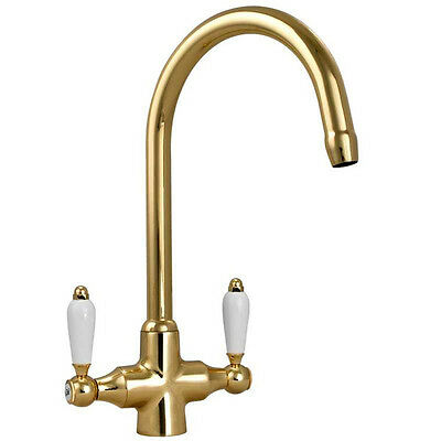 Colonial English Gold Double White Ceramic Handle Kitchen Sink Mixer Tap 7018