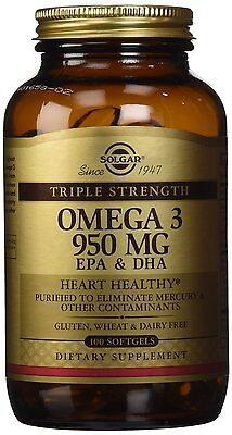 NEW!! Solgar Omega-3 EPA & DHA, Triple Strength, 950 mg x 100 Softgels