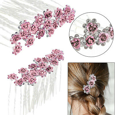 10 Diamante Rhinestones Czech Crystal Bridal Wedding Prom Hair Pins Clips 1069