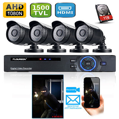 1TB 8CH 960H HDMI AHD DVR 1500TVL Outdoor CCTV Home Security Camera System Kit
