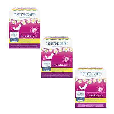 Triple Pack Natracare ULTRA EXTRA pads LONG Organic Cotton, Chlorine Free.