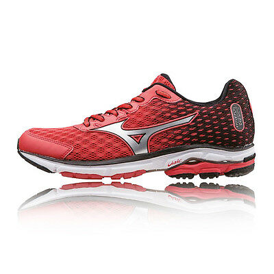 Mizuno Wave Rider 18 Womens Red Black Cushioned Running Sports Shoes Trainers